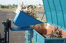 Blå tippcontainer med plant lock, 1100 liter