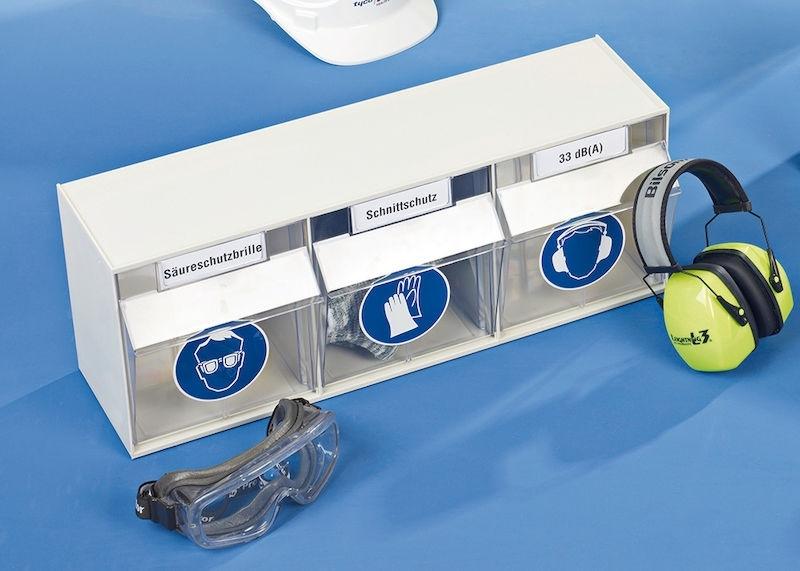 Förvaringsskåp för skyddsutrustning, 3-fack. 240x600x160 mm