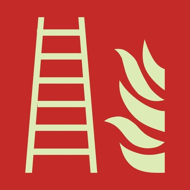 Efterlysande brandskylt Brandstege, folie 150x150 mm