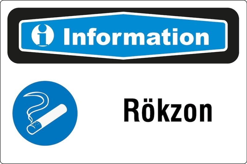 Informationsskylt Rökzon, folie 150x250 mm