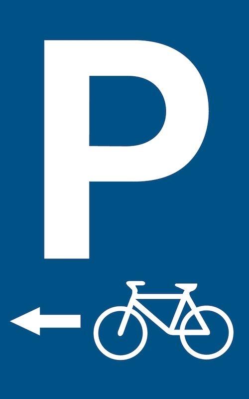 Parkeringsskylt Cykelparkering vänster 400x250 mm. Plast