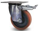 Industrihjul, stål/polyuretan Ø 200x50 mm, länkhjul med broms