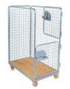 Rullcontainer med trägolv, 2 dörrar, nätmaska 65x65 mm, LxBxH 1200x750x1700 mm, max 800 kg