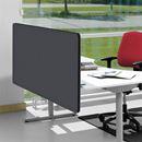 Edge Plus bordsskärm 1600x700  mm, frontmonterad, Svart, Grå